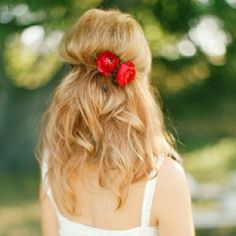 red flower in wedding hair - Google Search