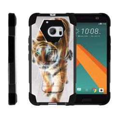 HTC 10 M10 Case SHOCK FUSION High Impact Hybrid Dual Layer Kickstand - Blazing Tiger
