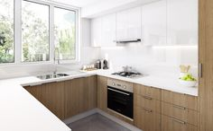 Kaboodle, shiney white doors with no handles, Kitchen Inspiration Gallery Kitchen Gallery, Studio Kitchen, Kitchen Design, Kitchen Inspirations, Kitchen Decor, Kitchen Handles, New Kitchen, Kaboodle Kitchen Bunnings, Home Decor