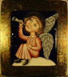 Gallery.ru / Ангел, играющий на трубе - Дерево,темпера,лак - julia-yakusheva