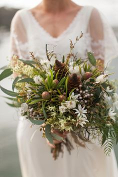 Native Australian Bouquet By Merrin Grace Photography By Bear Deer Fox Purple Wedding Bouquets, Rustic Wedding Flowers, Bridal Flowers, Flower Bouquet Wedding, Floral Wedding, Flower Bouquets, Bouquet Bride, Bridesmaid Bouquet, Bush Wedding