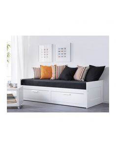BRIMNES Day-bed frame with 2 drawers, white