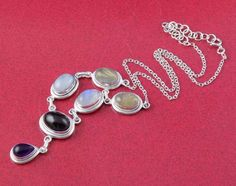 Natural Multi Gemstone Oval and Pear 925 Sterling Silver Necklace With Claps #RaAgarw