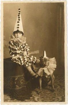 vintage boy as a clown