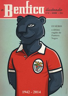 Tribute to Eusebio - RIP by hugraphic Football Images, Football Design, Benfica Logo, Classic Image, Football Program, Sports Logo, Vintage Posters, Soccer, Illustration