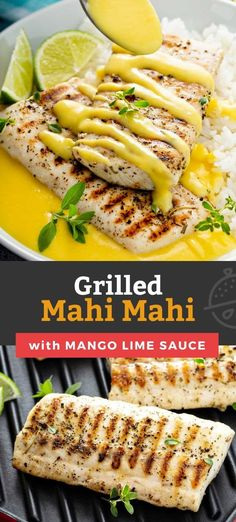 This Grilled Mahi Mahi recipe makes tender and flaky grilled fish that is served with the best, most luscious mango and lime butter-wine sauce. This easy to make grilled mahi mahi is incredibly flavorful and will surely impress your family and guests. Ready in about 35 minutes!#lemonblossoms #seafood #fish #mango #grilled Fish Recipes, Seafood Recipes, Beef Recipes, Traeger Recipes, Healthy Recipes, Grilled Mahi Mahi, Mahi Fish, Grilled Fish, Summer Grilling Recipes