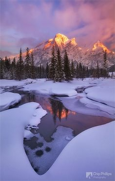 Winter Sunrise - Mount Kidd, Alberta Canada-