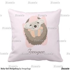 Baby Girl Hedgehog Throw Pillow