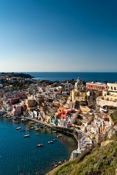 Bucket/Wish list ~ Trip to Italy. My Grandpa was born in Naples. Beautiful village of Procida - Naples, Italy Places Around The World, Oh The Places You'll Go, Travel Around The World, Places To Travel, Travel Destinations, Places To Visit, Around The Worlds, Dream Vacations, Vacation Spots