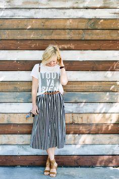 Street style tip of the day: Striped midi skirt via @stylelist