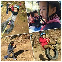 숲유치원 선생님이 찍어주신 밍토리~^^ 타이어 타고 노는 걸 특히 좋아한다고 하네요.