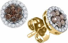 0.25 Carat Chocolate Brown And White Diamond 10K Yellow Gold Flower Cluster Fashion Earrings Sea of Diamonds. $218.79. Metal Type: 10K Yellow Gold. GemStone: Chocolate Brown and White Diamond