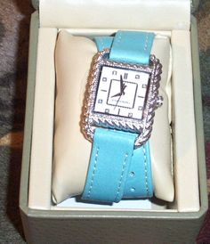 Judith Ripka Watch Turquoise Leather Double Wrap Strap Mint In Box #JudithRipka #ContemporaryDesign