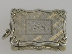 "sterling silver monogrammed calling card case and in ""tartan"", you know I love this!"
