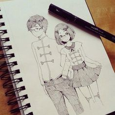 ✮ ANIME ART ✮ anime couple. . .anime girl. . .anime boy. .. glasses. . .short hair. . .matching outfits. . .sketchbook. . .drawing. . .ink. . .pen. . .doodle. . .cute. . .kawaii