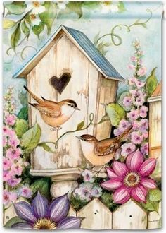Lovely Birdhouse Scene Decorative Outdoor Flag charming decorative flag features a birdhouse surrounded by birds and flowers and would be a wonderful addition to any bird lover's outdoor decor. Decoupage Vintage, Decoupage Paper, Art And Illustration, Arte Country, Outdoor Flags, Outdoor Decor, Country Paintings, House Flags, Flag Decor