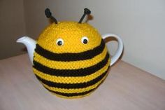 hand knitted stripey bee teapot cosy