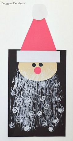 Here's a Santa craft for kids that uses a super fun art technique- printing with yarn and pipe cleaners! The finished Santa Claus artwork can be hung to decorate for Christmas!