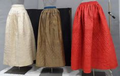 Quilted Petticoats.  Left to Right: 1987.211.1; 1967.36.3; 1959.54.2.  CHS Collection.