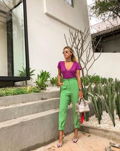 2019 Colorful fashion and jewelry - 2020 Color Blocking Outfits, Color Combinations For Clothes, Colorful Outfits, Colorful Fashion, Look Office, Office Looks, Looks Style, Casual Looks, My Style