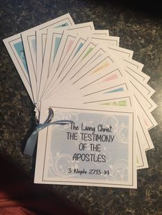 I was asked to put these together for a gal in our Relief Society, she handed these out and encouraged the women in the ward to use these cards to help them learn the Living Christ better. Her daughter had received something like these at Girls Camp one year. Living…Read More