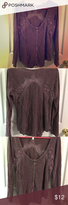 Free People Long Sleeve Henley with Crochet detail Free People Long Sleeve Henley with crochet on front and back and buttons that trail halfway down the front. Effortlessly cool 😎 with a pair of denim cut offs, or a camisole underneath.(Color: Eggplant🍆) Free People Tops Tees - Long Sleeve