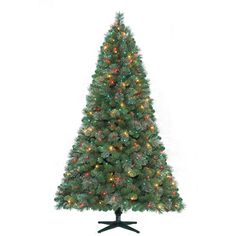 "Holiday Time Pre-Lit 7' Montgomery Pine Artificial Christmas Tree, Multi-Color Lights. Holiday Time Pre-Lit 7' Montgomery Pine Artificial Christmas Tree, Multi-Color Lights: 50""W at base 1085 tips Pre-lit with 400 clear, red and frosted lights If 1 bulb burns out, the rest stay lit 10 extra bulbs included Branches pre-attached and hinged Indoor use only Stand included Flame-retardant UL-approved 2-year warranty See all Christmas Value Bundles. Check out the entire selection of Christmas…"