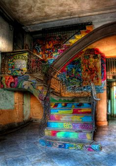 Graffiti stairs in Cuba