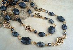 Long Necklace.Labradorite Stone.Metal plaqué en par GinaJiangDesign