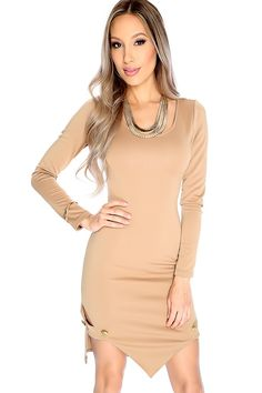 Steal the show wherever you go with this dress! Featuring; long sleeve, round neck, leg cut outs, gold metal button embellishments. Followed by a fitted wear. 95% Polyester 5% Rayon
