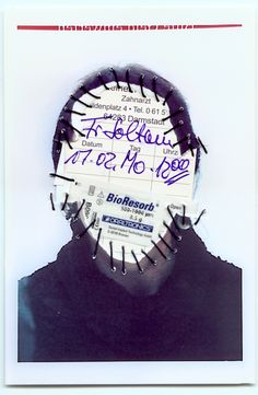 Zahnarzt. Personal Identity 2003-14. Self-portraits with sewn-in original documents, birth certificate, SIM cards.