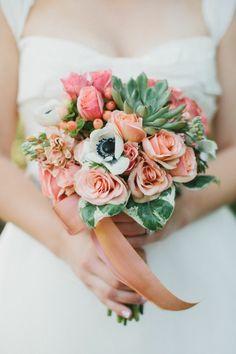 coral + turquoise/mint bouquet