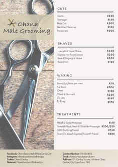 Our Male Grooming treatments, cuts and styles are all performed following strict hygiene protocols that leave clients looking and feeling their best.  #Barber #MaleGrooming #Shave #Beard #Trim #Haircut #MensGrooming #HotTowelShave #Waxing Shave Beard, Beard Shapes, Brow Wax, Beard Trimming, Male Grooming, Ohana, Cut And Style, Barber, Shaving