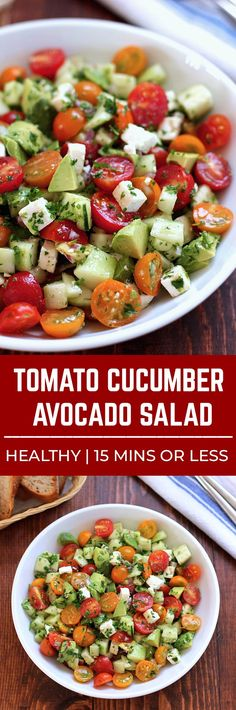 Lovely This tomato cucumber avocado salad is an easy healthy flavorful salad. Its crunchy fresh and simple to make. Its a family favorite and ready in less than 15 minutes. The post This tomato cucumber avocado salad i . Cucumber Avocado Salad, Avocado Salad Recipes, Avocado Salat, Healthy Salad Recipes, Vegetarian Recipes, Simple Salad Recipes, Simple Salads, Avocado Dessert, Fruit Salad