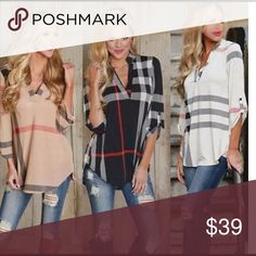 Pink plaid Beautiful polyester top Please leave your orders, questions, comments below.  Thx. Please consider that Asian sizing runs smaller than US sizes Tops Blouses