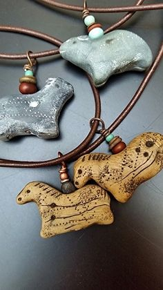 Animal Totem Necklaces, handmade polymer clay artifacts (faux ivory, faux soapstone) by Luann Udell polymer clay ~ x