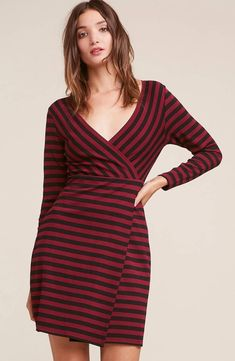 No matter what day of the week, this striped number will have you looking The All Day Everydayn striped ponte knit dress has a faux wrap bodycon silhouette.No matter what day of the week, this striped number will have you looking 100 Knit Dress, Wrap Dress, Bb Dakota Dress, Amelia Dress, Everyday Dresses, Black Tights, Sweater Shirt, Black Stripes, Short Skirts