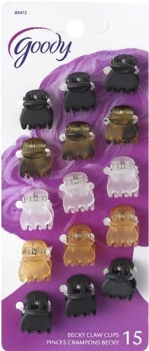Goody Classics Claw Clip, Mini Crown (Pack of 3) by Goody Classics. $9.87. Perfect for short hair. Great for both adults and girls. Mini claw clips. Mini crown claw clips in black, brown, crystal and taupe. 15 Piece count. Goody is the World's most recognized manufacturer of hair styling tools and accessories and has been making hair look fabulous for over 100 years. Goody provides consumers with products inspired by the latest designer trends so they can enjoy style with valu...