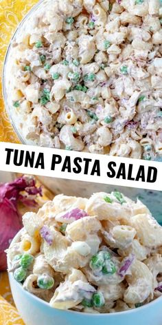 Creamy easy and the perfect picnic side this Tuna Pasta salad is full of noodles peas red onion tuna all tossed in a deliciously creamy and easy sauce The absolutely best salad recipe to bring to your next gathering this summer Mayo Pasta Salad Recipes, Best Tuna Salad Recipe, Vegetarian Salad Recipes, Best Salad Recipes, Salad Recipes For Dinner, Cold Pasta Recipes, Chicken Recipes, Picnic Recipes, Picnic Ideas
