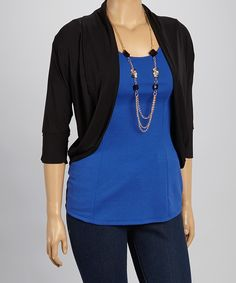 Look at this Freshmint Black Embellished Dolman Open Cardigan - Plus on #zulily today!