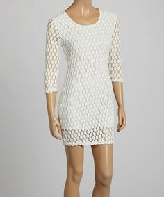Loving this White Circle Lace Long-Sleeve Dress on #zulily! #zulilyfinds