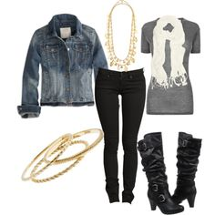 """Jean jacket and scarf"" by chells-style on Polyvore"