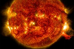 Image Caption: NASA's Solar Dynamics Observatory captured this image of a solar flare on Oct. 2, 2014. The solar flare is the bright flash of light on the right limb of the sun. A burst of solar material erupting out into space can be seen just below it. Credit: NASA/SDO Read more at http://www.redorbit.com/news/space/1113249559/solar-flare-on-october-2-sdo-100414/#rA7pjHeD0MZBkFUm.99