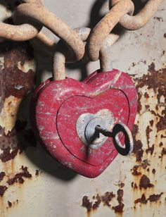 Old Painted Heart Shaped Lock