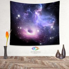 Looking for that special piece of home décor to transform your room from ordinary to extraordinary? A tapestry is so much more than a simple home décor item; it is a work of art. With this Black hole in purplegalaxy tapestryyou will have a peace of the space in your bedroom or livingroom. Why Our Tapestries?Our tapestries are a work of art and we treat their design with diligent care as we oversee the entire creation process. We print our own tapestries using a state of the art printing…