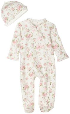 Amazon.com: Little Me Cabbage Rose Footie, White Floral, Newborn: Clothing