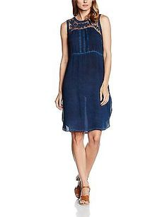 UK 10, Blue - Blau (Dress Blues 60396), Cream Women's Mally Dress NEW