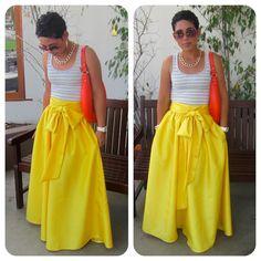 Very Full Regal Yellow Maxi Skirt w/ Sash Option by mimigstyle Diy Fashion, Ideias Fashion, Fashion Outfits, Fashion Women, Yellow Maxi Skirts, Elegante Y Chic, Look Plus, Look Chic, Dress Me Up