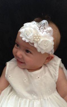 Vintage Christening Headband .. Baby Baptism by PinkLaundryEvts