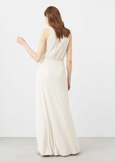 Длинное платье с комбинированным принтом   MANGO МАНГО